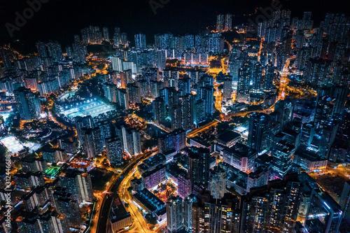 cyperpunk cityscape of urban area, Hong Kong