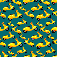 Scooter Seamless Pattern Vecto...