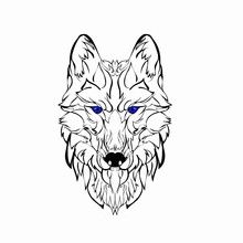 Vector Image Of An Wolf On Whi...