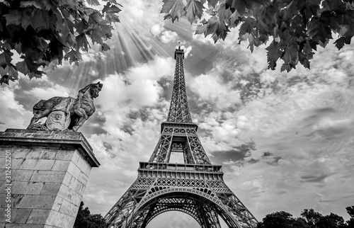 eiffel-tower-in-paris-france-with-golden-light-rays-black-and-white-photography