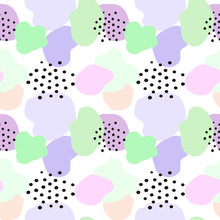 Abstract Seamless Pattern With Blue And Yellow Blobs And Polka Dots. Colourful Illustration On White Background
