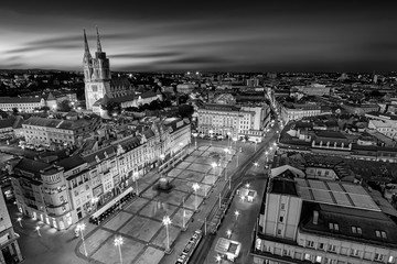 Zagreb Croatia at Night. View from above of Ban Jelacic Square Black and White Photography
