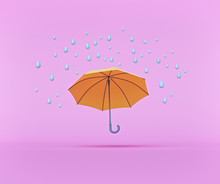 Water Drops And Umbrella Isolated On Pastel Pink Background. Rainy Season Concept. Minimal Style Design. 3d Rendering