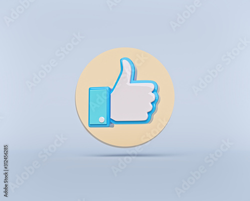 Obraz Thumbs up button or like button with shadow isolated on pastel blue background. modern minimal symbol. social media concept. 3d rendering - fototapety do salonu