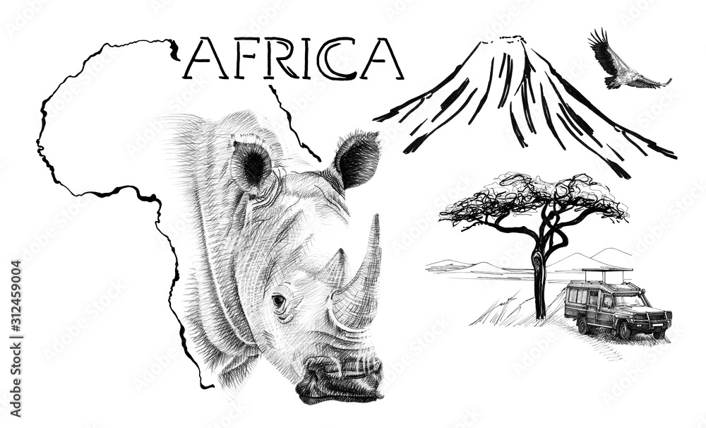 Rhino portrait on Africa map background with Kilimanjaro mountain, vulture and car