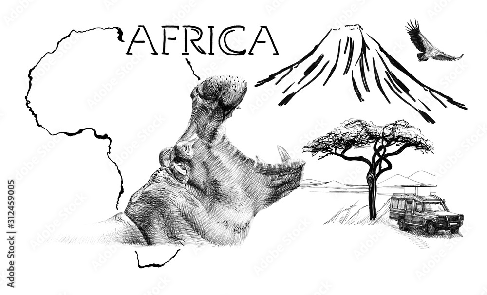 Hippo portrait on Africa map background with Kilimanjaro mountain, vulture and car