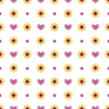 Yellow Flowers And Pink Hearts...