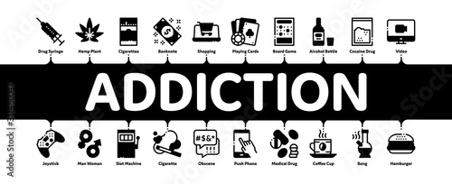 Photo Addiction Bad Habits Minimal Infographic Web Banner Vector