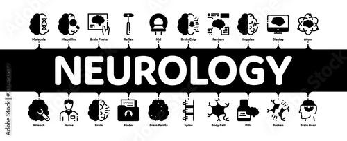 Obraz Neurology Medicine Minimal Infographic Web Banner Vector. Neurology Equipment And Neurologist, Brain And Nervous System, Nerves And Files Concept Illustrations - fototapety do salonu