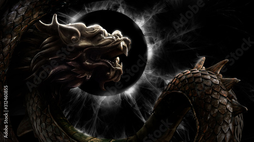 Obraz na plátne A mighty Chinese dragon with a wriggling scaly body soars against a sinister black and white eclipse