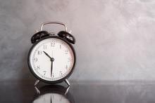 The Black Retro Clock On Dark ...