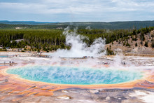 Grand Prismatic Spring And The Landscape Nature In Yellowstone National Park In Wyoming , United States Of America
