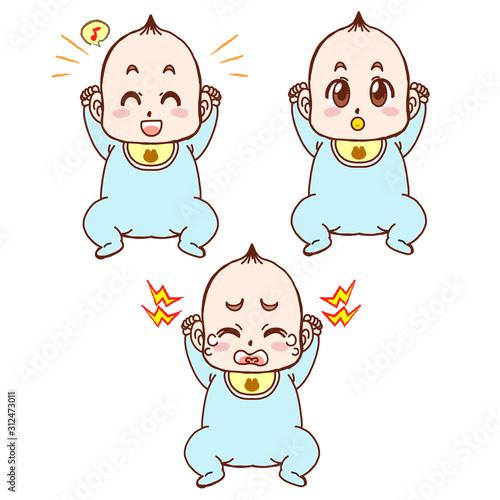 赤ちゃん(泣き・笑い・おしゃぶり)イラスト