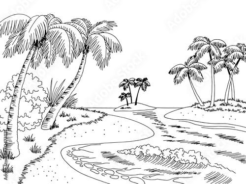 Photo Archipelago island sea coast graphic beach black white landscape sketch illustra
