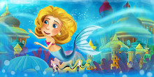 Cartoon Ocean And The Mermaid Princess In Underwater Kingdom Swimming And Having Fun - Illustration For Children