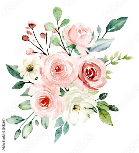 Fototapety, obrazy: Blush flowers watercolor, floral clip art. Pink bouquet roses perfectly for printing design on wedding invitation, greeting card, wall art and other. Hand painting. Isolated on white background.
