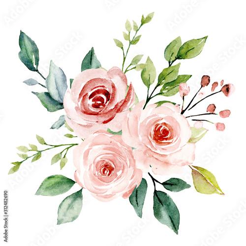 Blush flowers watercolor, floral clip art Canvas Print