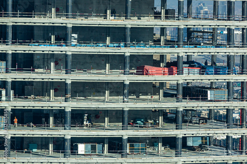 Close up picture of construction site of highrise building in Dubai Canvas Print