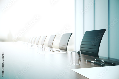 Obraz Table with equipment in conference room. - fototapety do salonu