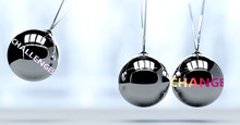 Challenges And New Year's Change - Pictured As Word Challenges And A Newton Cradle, To Symbolize That Challenges Can Change Life For Better, 3d Illustration