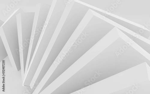 abstract white cubes forming a ring swirl structure spiral illustration 3d render illustration