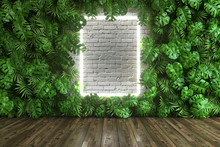 Vertical Garden Of Palm Leaves