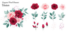 Floral Vector Collection. Flowers Decoration Illustration Of Red And Peach Rose Flowers, Leaves, Branches. Romantic Botanic Elements For Wedding Or Greeting Card Design