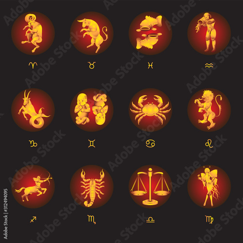 Fotografiet Set of 12 zodiac signs on an isolated black background