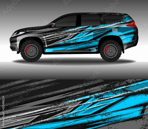 Wrap car decal design vector, custom livery race rally car vehicle sticker and tinting Fototapet