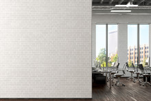 Blank White Brick Wall Mock Up In Office Interior. 3d Render.