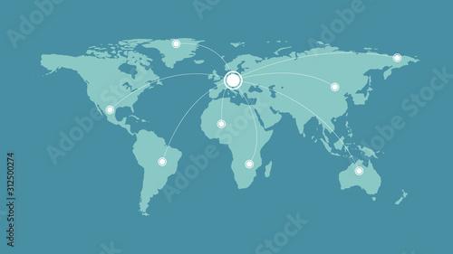 Fototapeta mapa świata   global-logistics-network-world-map