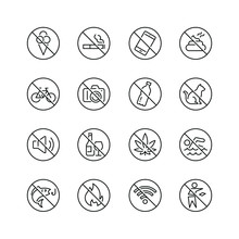 Prohibited Signs Related Icons: Thin Vector Icon Set, Black And White Kit