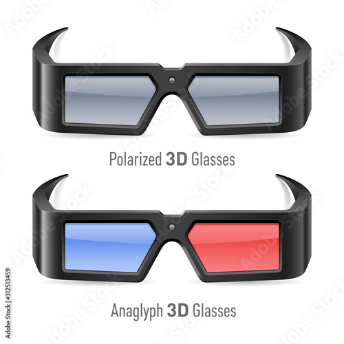Illustration of Anaglyph and Polarized 3D Cinema Glasses Canvas Print