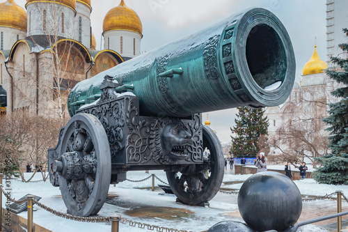 Old Russian cannon with the name Tsarist Cannon standing on the square in the Canvas Print