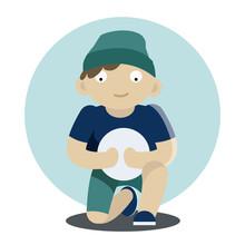 Boy Sitting And Holding Ball V...