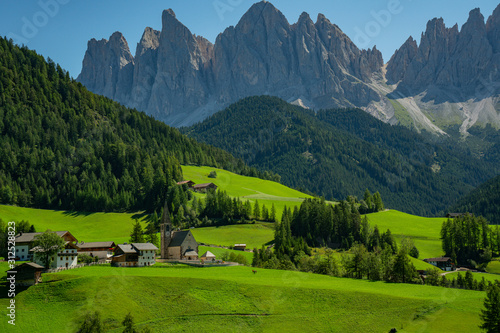 Famous alpine place of the world, Santa Maddalena village with magical Dolomites Wallpaper Mural