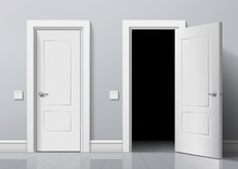 Realistic Open And Closed White Entrance Doors