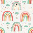 Cute scandinavian childish seamless pattern with trendy hand drawn rainbows