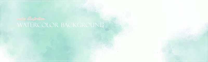 Green mint watercolor background. Colorful texture banner with free copy space for your graphic design or text. Vector illustrator. Ethereal colors. Subtle and delicate surface.