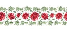 Watercolor Border Scarlet Holiday Roses