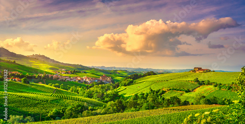 Langhe vineyards view, Barolo and La Morra, Piedmont, Italy Europe Wallpaper Mural