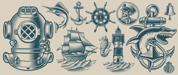 Set of vector illustrations on the nautical theme