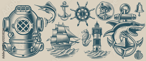 Set of vector illustrations on the nautical theme Canvas Print
