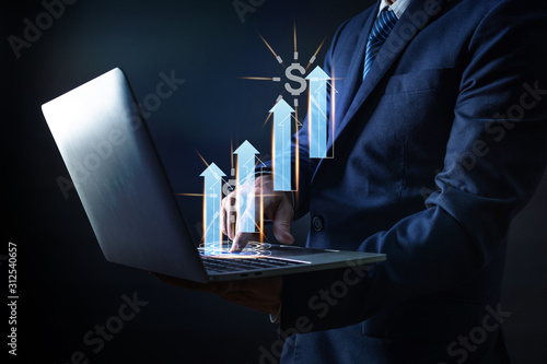 Cuadros en Lienzo  business and technology of businessman press on laptop with arrow up and money i