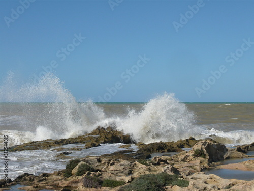 Fototapeta  Dashing/Crashing large grey waves against rocks with tide pools and  fauna and f
