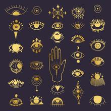 Golden Evil Eyes Symbol Set. D...