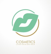 Cosmetic Line Logo Design Idea With Mint Green Lips In Line Circle. Beauty And Spa Symbol Or Emblem Template. Fashion Or Makeup Products Vector Icon Illustration.
