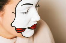 Woman Actress With Double Face Makeup Studio Portrait