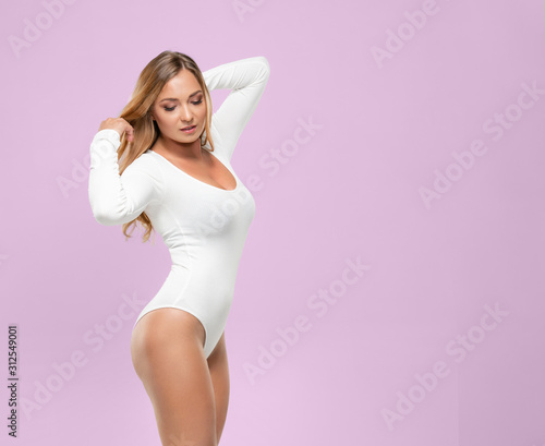 Attractive fashion model posing in white underwear Canvas Print