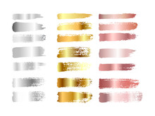 Gold , Silver And Rose Gold Paint Smear Stroke Stain Set. Abstract Gradient Texture Art Illustration. Vector